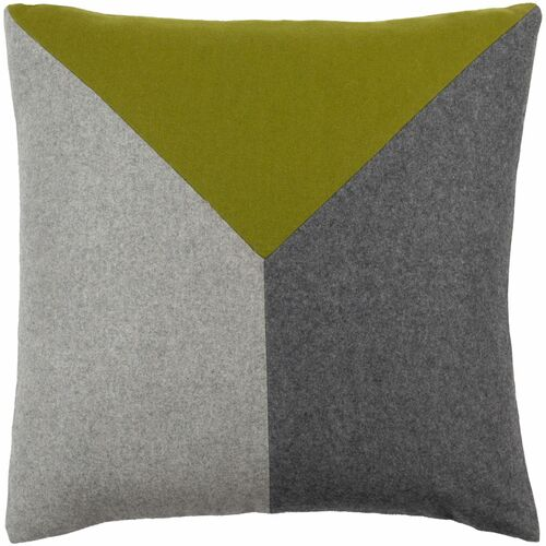 """20"""" Green and Gray Patched Square Woven Throw Pillow Cover with Knife Edge - IMAGE 1"""
