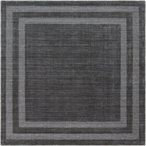 8' Bordered Black and Gray Square Hand Tufted Wool Area Throw Rug - IMAGE 1