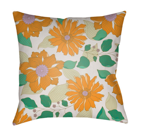 """18"""" Green and Orange Floral Printed Square Throw Pillow Cover with Knife Edge - IMAGE 1"""