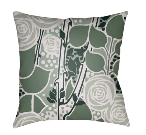 """20"""" Green and White Floral Square Throw Pillow Cover with Knife Edge - IMAGE 1"""