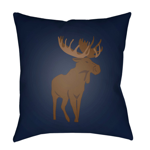 "18"" Navy Blue and Brown Moose Printed Square Throw Pillow Cover - IMAGE 1"