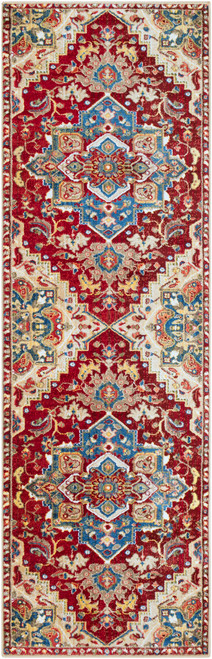 2.5' x 7.8' Renaissance Patterned Red and Blue Rectangular Area Throw Rug Runner - IMAGE 1