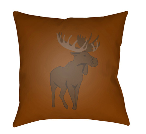 """18"""" Orange and Brown Moose Printed Square Throw Pillow Cover - IMAGE 1"""