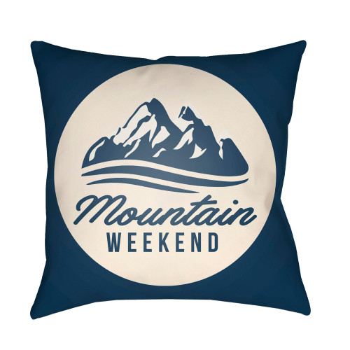 "26"" Navy Blue and Ivory ""mountain WEEKEND"" Printed Square Throw Pillow Cover - IMAGE 1"