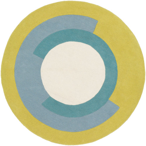 3' Geometric Patterned Gray and Yellow Hand Tufted Round Wool Area Throw Rug - IMAGE 1