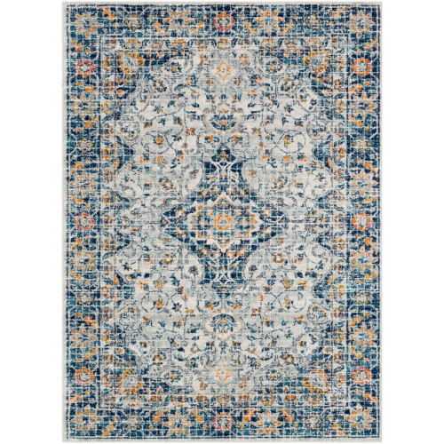 """9'3"""" x 12'6"""" Floral Persian Pattern Gray and Blue Rectangular Area Rug - IMAGE 1"""