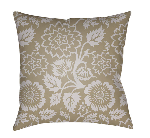 """18"""" Brown and Gray Floral Printed Square Throw Pillow Cover with Knife Edge - IMAGE 1"""