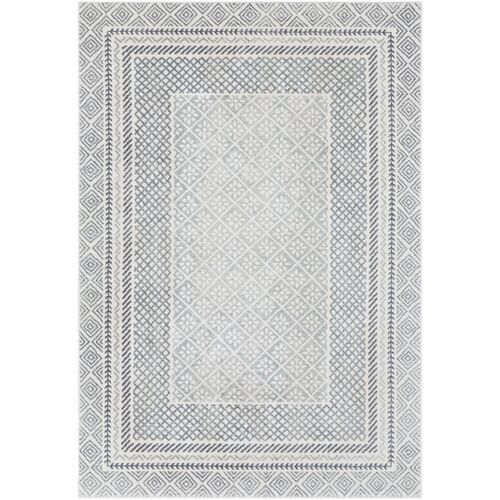 "9'3"" x 12'6"" Scandinavian Design Gray Rectangular Area Rug - IMAGE 1"