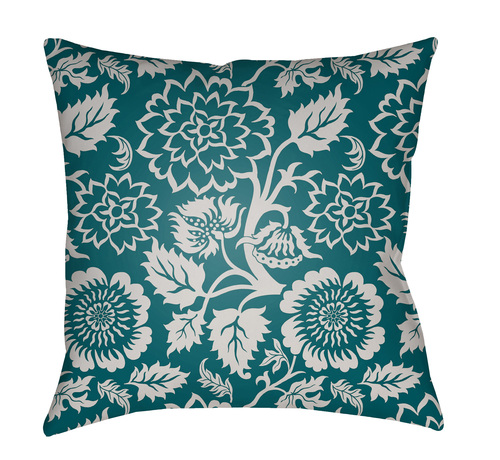 """18"""" Teal Green and Ivory Floral Square Throw Pillow Cover with Knife Edge - IMAGE 1"""