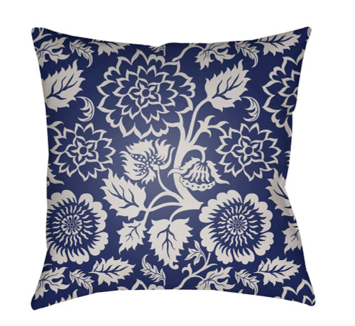 """18"""" Blue and Ivory Floral Square Throw Pillow Cover with Knife Edge - IMAGE 1"""