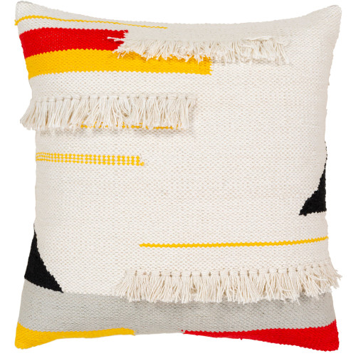 """20"""" White and Yellow Square Throw Pillow Cover - IMAGE 1"""