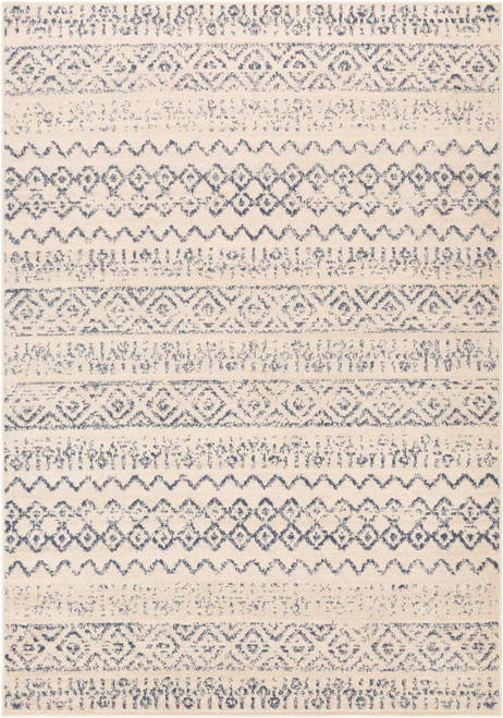 5.25' x 7.25' Beige and Denim Blue Geometric Rectangular Area Throw Rug - IMAGE 1
