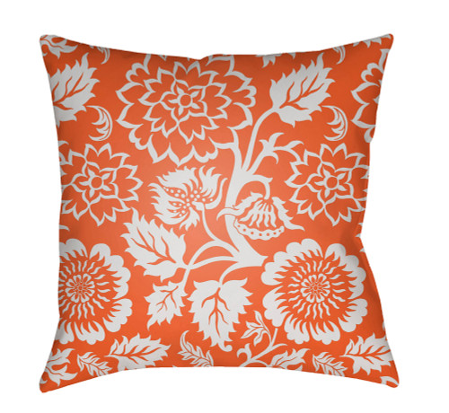 """18"""" Orange and White Floral Square Throw Pillow Cover with Knife Edge - IMAGE 1"""