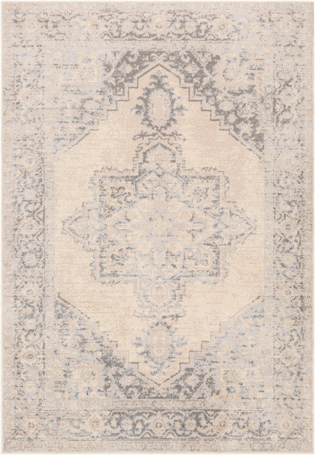 5.25' x 7.25' Beige and Charcoal Distressed Rectangular Area Throw Rug - IMAGE 1