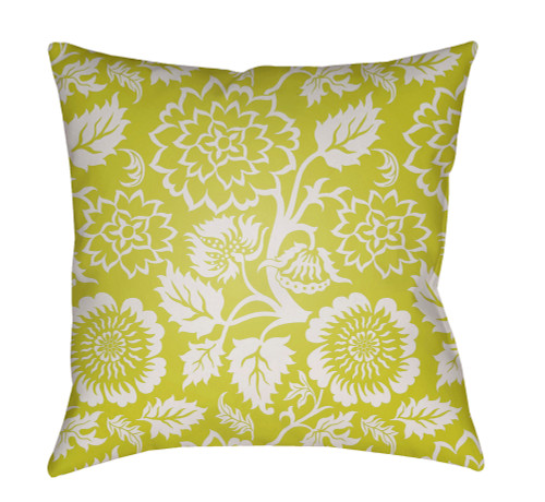 """18"""" Lime Green and White Floral Square Throw Pillow Cover with Knife Edge - IMAGE 1"""