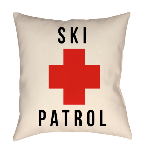 """26"""" White and Red """"SKI PATROL"""" Printed Square Throw Pillow Cover with Knife Edge - IMAGE 1"""