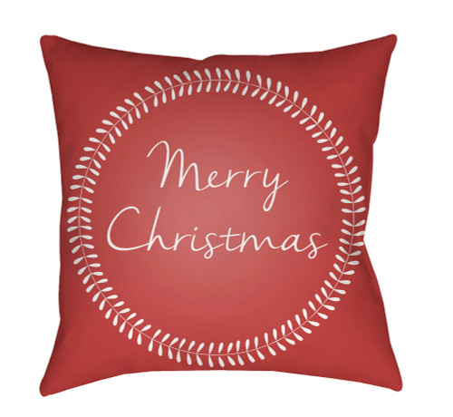 """20"""" Blush Red and White """"Merry Christmas"""" Printed Square Throw Pillow Cover - IMAGE 1"""