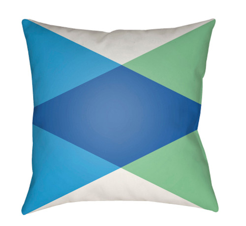 "20"" Navy Blue and Green Digitally Printed Square Throw Pillow Cover - IMAGE 1"