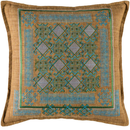 """22"""" Brown and Blue Embroidered Geometric Patterned Throw Pillow Cover - IMAGE 1"""