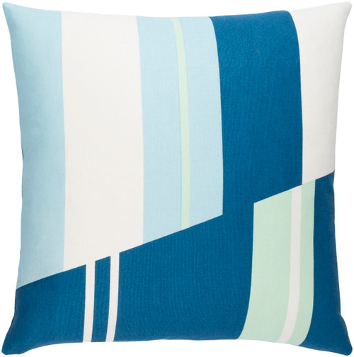 "18"" Blue and White Striped Pattern Square Woven Throw Pillow Cover - Poly Filled - IMAGE 1"