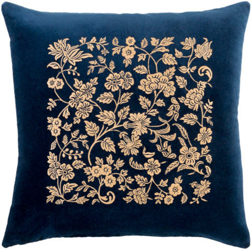 "18"" Blue and Gold Floral Embroidered Square Throw Pillow Cover - IMAGE 1"