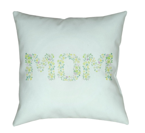 """18"""" Green """"MOM"""" Printed Square Throw Pillow Cover with Knife Edge - IMAGE 1"""