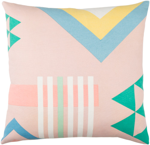 "18"" Pink and Blue Geometric Pattern Square Woven Throw Pillow Cover - Poly Filled - IMAGE 1"