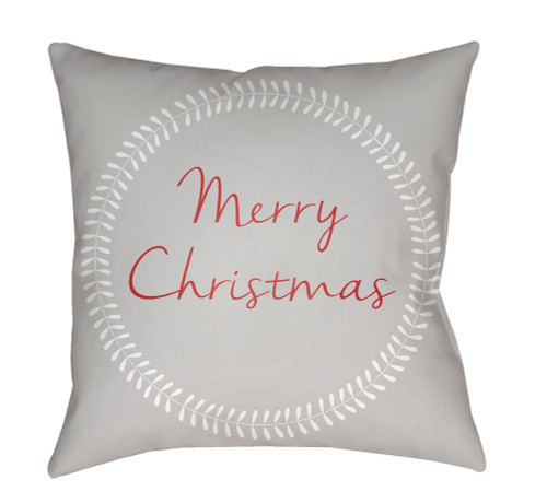 """20"""" Cloud Gray and Red """"Merry Christmas"""" Printed Square Throw Pillow Cover - IMAGE 1"""