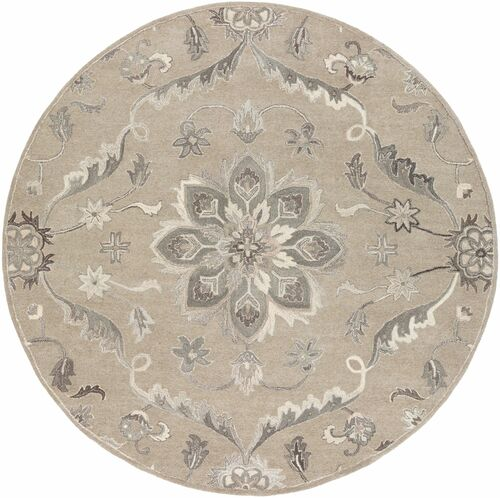 6' x 9' Persian Floral Style Gray and Beige Hand Tufted Wool Oval Area Throw Rug - IMAGE 1