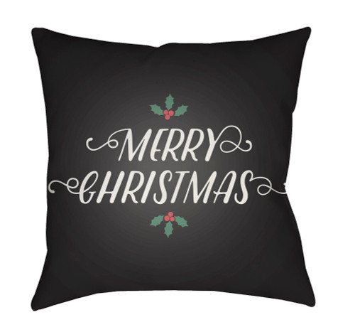 """20"""" Juniper Green and White """"MERRY CHRISTMAS"""" Printed Square Throw Pillow Cover - IMAGE 1"""