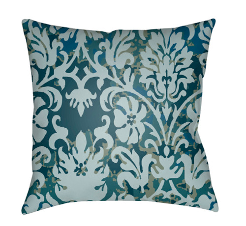 """18"""" Blue and Green Digitally Printed Square Throw Pillow Cover - IMAGE 1"""