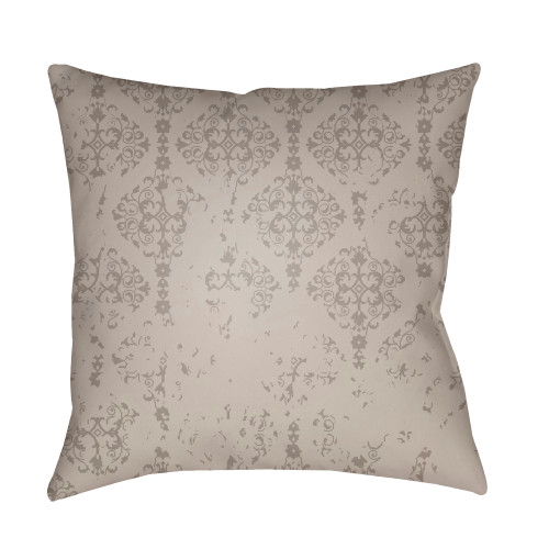 """18"""" Gray Damask Patterned Square Pillow Cover with Knife Edge - IMAGE 1"""