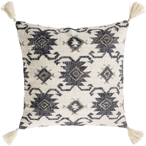 """30"""" Beige and Black Tibetan Pattern with Tassels Throw Pillow - Down Filler - IMAGE 1"""