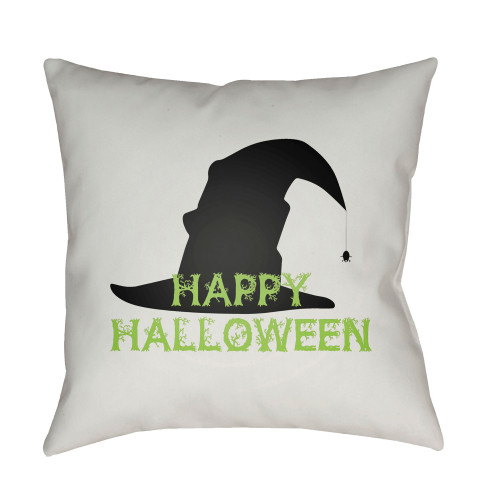 "20"" White and Green ""Happy Halloween"" Printed Square Throw Pillow Cover - IMAGE 1"