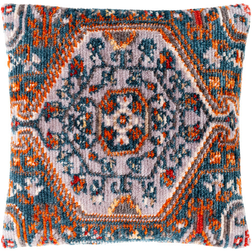 """27"""" Burnt Orange and Blue Floral Motif Square Throw Pillow - Down Filler - IMAGE 1"""