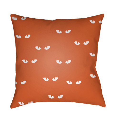 "20"" Orange and White Glowing Eyes Printed Square Throw Pillow Cover - IMAGE 1"