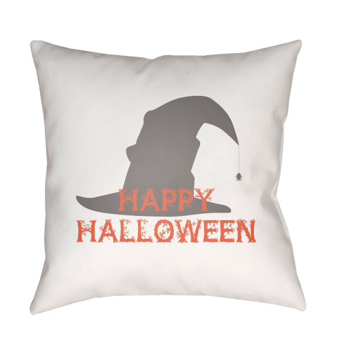 """20"""" White and Orange """"Happy Halloween"""" Printed Square Throw Pillow Cover - IMAGE 1"""