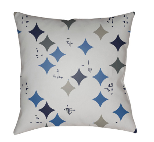 """18"""" Ivory and Blue Geometric Square Throw Pillow Cover - IMAGE 1"""