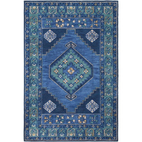 8.9' x 12' Traditional Style Blue and Teal Green Rectangular Area Throw Rug - IMAGE 1
