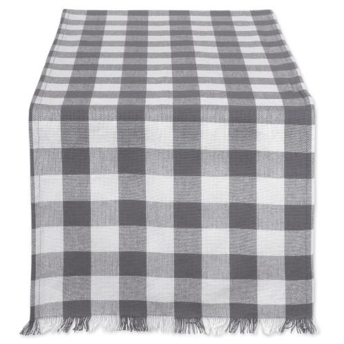 "14"" x 108"" Gray and White Checkered Pattern Rectangular Table Runner - IMAGE 1"