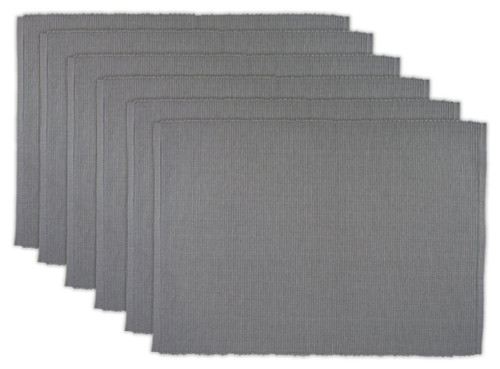 """Set of 6 Gray Solid Ribbed Pattern Rectangular Placemats 19"""" x 13"""" - IMAGE 1"""