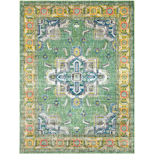 7.8' x 10.25' Fern Green and White Oriental Patterned Rectangular Area Throw Rug - IMAGE 1