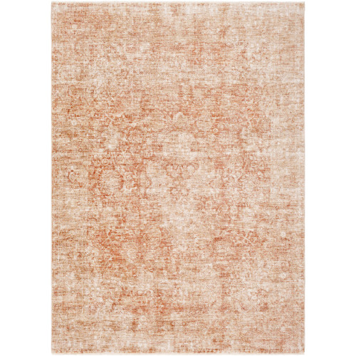 """9' x 13'1"""" Distressed Finished Brown and White Rectangular Area Throw Rug - IMAGE 1"""
