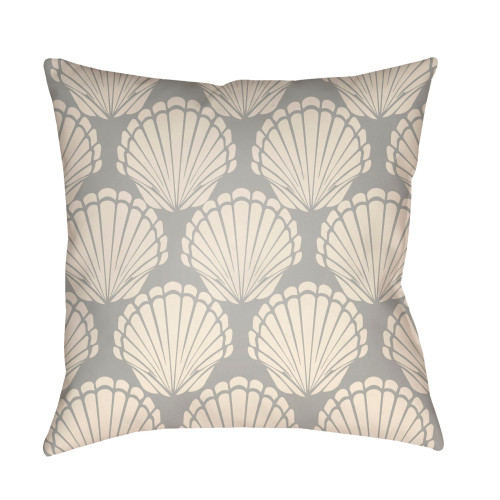 "18"" Gray and Beige Digitally Printed Seashell Square Throw Pillow Cover - IMAGE 1"