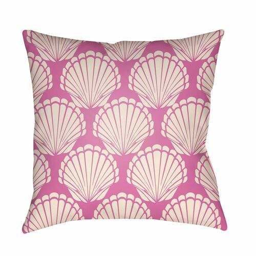 """18"""" Pink and White Digitally Printed Seashell Square Throw Pillow Cover - IMAGE 1"""