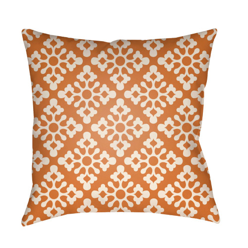 "18"" Orange and White Geometric Floral Pattern Square Throw Pillow Cover - IMAGE 1"