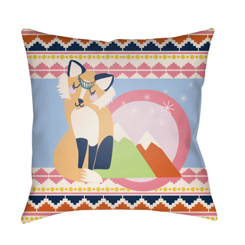 "18"" Blue and Pink Printed ""Fox"" Design Square Woven Throw Pillow Cover with Knife Edge - IMAGE 1"