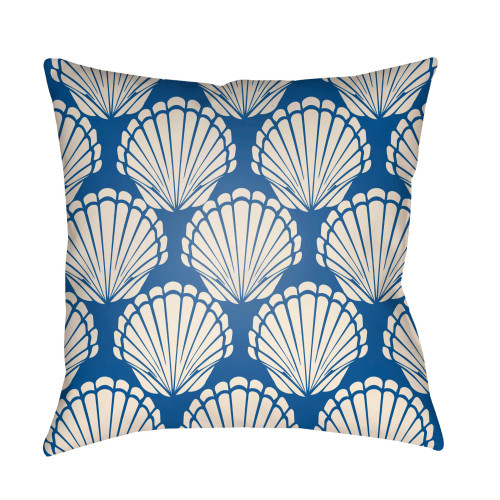 """18"""" Blue and White Digitally Printed Seashell Square Throw Pillow Cover - IMAGE 1"""