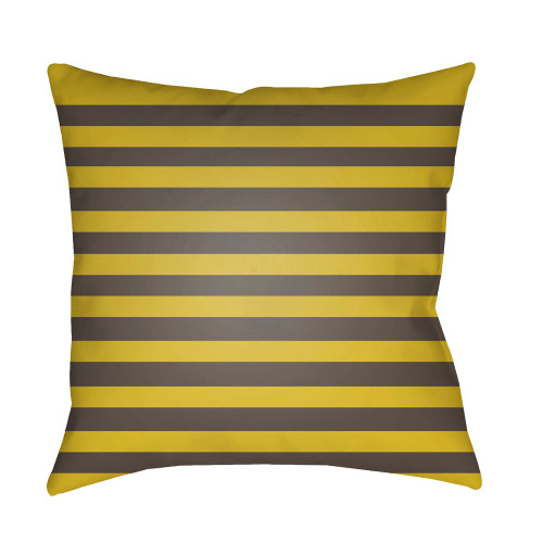 "18"" Yellow and Brown Striped Square Throw Pillow Cover - IMAGE 1"
