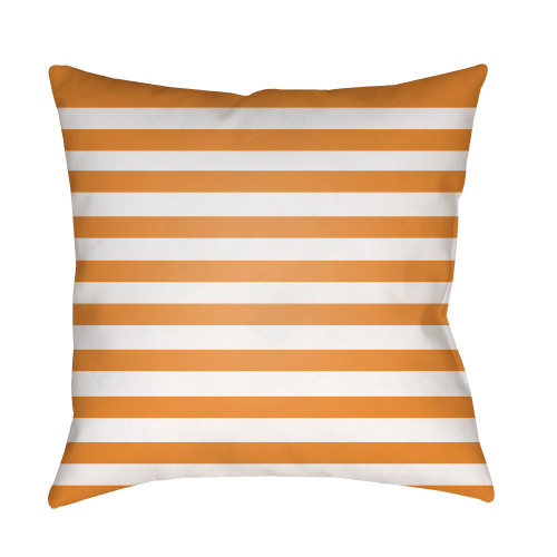 """18"""" Orange and White Striped Print Square Throw Pillow Cover - IMAGE 1"""